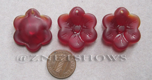 Cultured Sea Glass flower Pendants  <b>25mm</b> 05-Cherry Red six-petal   per  <b>3-pc-bag</b>