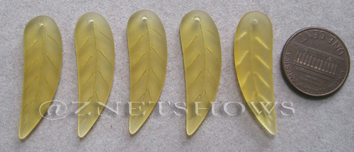 Cultured Sea Glass leaf Pendants  <b>32x10mm</b> 16-Desert Gold    per  <b>5-pc-bag</b>