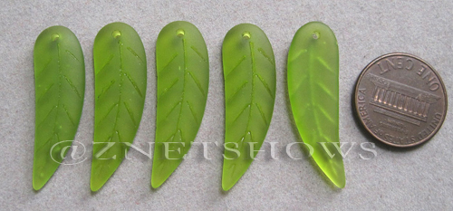 Cultured Sea Glass leaf Pendants  <b>32x10mm</b> 22-Olive    per  <b>5-pc-bag</b>
