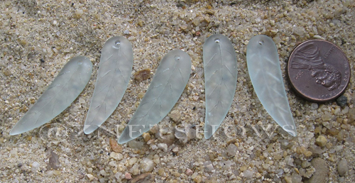 Cultured Sea Glass leaf Pendants  <b>32x10mm</b> 88-Light Aqua `Coke` bottle Seafoam    per  <b>5-pc-bag</b>