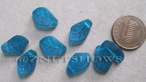 Cultured Sea Glass leaf Pendants  <b>15x10mm</b>  82-Teal earring size   per  <b>8-pc-bag</b>