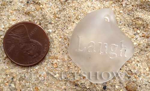 Cultured Sea Glass engraved Pendants  <b>32x28x8mm</b> 01-Crystal flat freeform shape engraved or etched inspirational characters with `laugh`   per  <b>1-pc-bag</b>