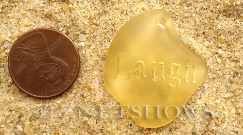 Cultured Sea Glass engraved Pendants  <b>32x28x8mm</b> 16-Desert Gold flat freeform shape engraved or etched inspirational characters with `laugh`   per  <b>1-pc-bag</b>