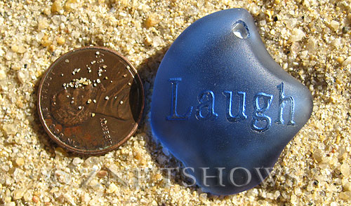 Cultured Sea Glass engraved Pendants  <b>32x28x8mm</b> 31-Light Sapphire flat freeform shape engraved or etched inspirational characters with `laugh`   per  <b>1-pc-bag</b>