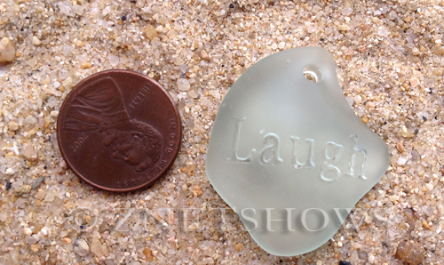 Cultured Sea Glass engraved Pendants  <b>32x28x8mm</b> 88-Light Aqua `Coke` bottle Seafoam flat freeform shape engraved or etched inspirational characters with `laugh`   per  <b>1-pc-bag</b>