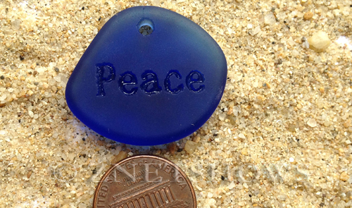 Cultured Sea Glass engraved Pendants  <b>30x26mm</b> 33-Royal Blue flat freeform shape engraved or etched inspirational characters with `peace`   per  <b>1-pc-bag</b>