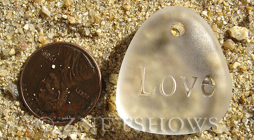 Cultured Sea Glass engraved Pendants  <b>28x25mm</b> 01-Crystal flat freeform shape engraved or etched inspirational characters with `love`   per  <b>1-pc-bag</b>