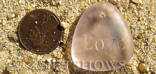 Cultured Sea Glass engraved Pendants  <b>28x25mm</b> 06-Blossom Pink flat freeform shape engraved or etched inspirational characters with `love   per  <b>1-pc-bag</b>