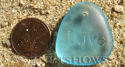 Cultured Sea Glass engraved Pendants  <b>28x25mm</b> 28-Turquoise Bay flat freeform shape engraved or etched inspirational characters with `love   per  <b>1-pc-bag</b>
