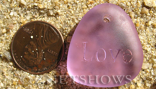 Cultured Sea Glass engraved Pendants  <b>28x25mm</b> 39-Periwinkle Changes flat freeform shape engraved or etched inspirational characters with `love   per  <b>1-pc-bag</b>