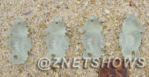 Cultured Sea Glass seahorse Pendants  <b>29x17mm</b> 88-Light Aqua `Coke` bottle Seafoam Hand-made, sand and gravel tumbled   per  <b>4-pc-bag</b>
