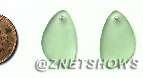 Cultured Sea Glass eclipse Pendants  <b>21x13mm</b> 23-Peridot lovely baby size   per  <b>1-pair-bag</b>