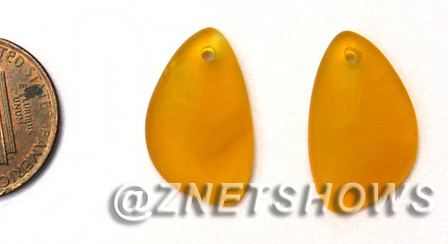 Cultured Sea Glass eclipse Pendants  <b>21x13mm</b> 57-Saffron Yellow lovely baby size   per  <b>1-pair-bag</b>