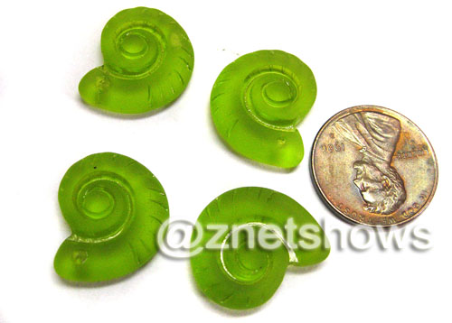 Cultured Sea Glass ammonites Pendants  <b>18x15mm</b> 22-Olive    per  <b>4-pc-bag</b>
