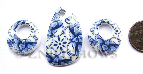 Cultured Sea Glass designer-set Pendants  <b>20x20mm/32x20mm</b> 142-Sea Porcelain Flower bowl cultured sea porcelain donut charms   per  <b>3-pc-set  </b> UPC Code: 8-1206802168-8