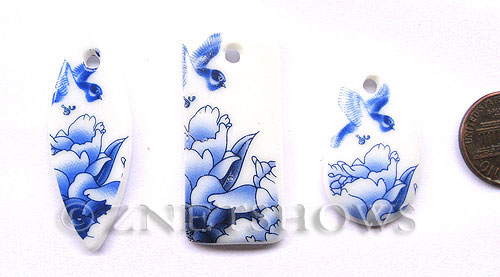 Cultured Sea Glass designer-set Pendants  <b>45x19mm</b> 142-Sea Porcelain Bird flower bowl cultured sea porcelain large pendants   per  <b>3-pc-bag</b>