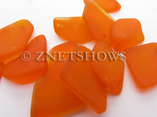 Cultured Sea Glass top-drilled flat freeform mix Pendants  <b>varied</b> 83-Tangerine   per  <b>12-pc-bag</b>