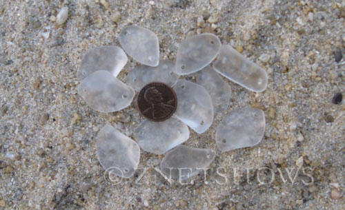 Cultured Sea Glass double-hole flat freeform mix Pendants  <b>varied</b> 01-Crystal   per  <b>12-pc-bag</b>