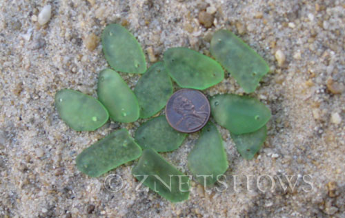 Cultured Sea Glass double-hole flat freeform mix Pendants  <b>varied</b> 23-Peridot   per  <b>12-pc-bag</b>