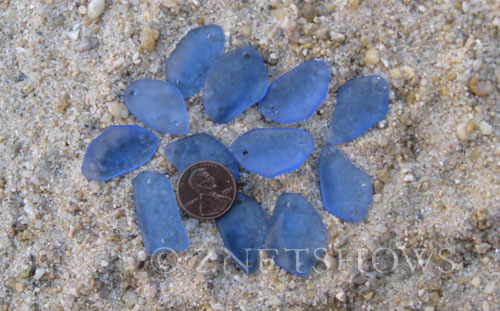 Cultured Sea Glass double-hole flat freeform mix Pendants  <b>varied</b> 31-Light Sapphire   per  <b>12-pc-bag</b>