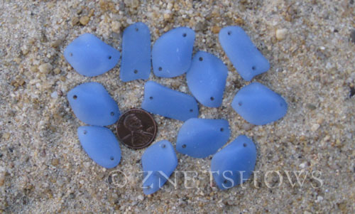 Cultured Sea Glass double-hole flat freeform mix Pendants  <b>varied</b> 47-Opaque Sky Blue   per  <b>12-pc-bag</b>