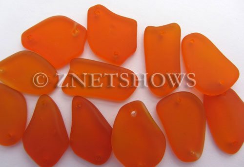 Cultured Sea Glass double-hole flat freeform mix Pendants  <b>varied</b> 83-Tangerine   per  <b>12-pc-bag</b>
