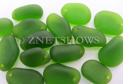 Cultured Sea Glass large pebble mix Pendants  <b>varied</b> 22-Olive    per  <b>15-pc-bag</b>