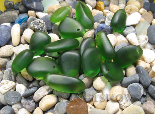 Cultured Sea Glass large pebble mix Pendants  <b>varied</b> 25-Shamrock    per  <b>15-pc-bag</b>