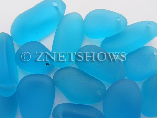 Cultured Sea Glass large pebble mix Pendants  <b>varied</b> 30-Pacific Blue    per  <b>15-pc-bag</b>