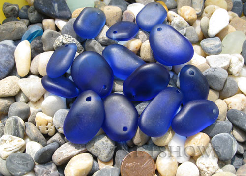 Cultured Sea Glass large pebble mix Pendants  <b>varied</b> 33-Royal Blue    per  <b>15-pc-bag</b>