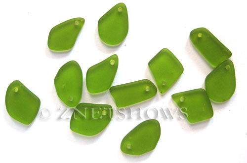 Cultured Sea Glass freeform flat Pendants  <b>10-15mm</b> 22-Olive earring size  per  <b>12-pc-bag</b>