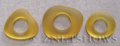 Cultured Sea Glass fancy ring Pendants  <b>varied</b> 16-Desert Gold    per  <b>3-pc-bag</b>