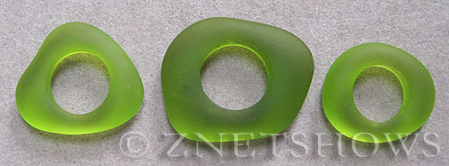 Cultured Sea Glass fancy ring Pendants  <b>varied</b> 22-Olive    per  <b>3-pc-bag</b>