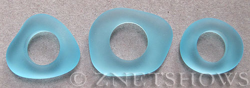 Cultured Sea Glass fancy ring Pendants  <b>varied</b> 28-Turquoise Bay    per  <b>3-pc-bag</b>