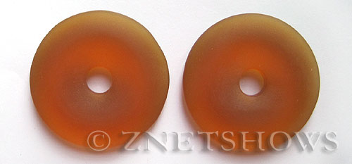 Cultured Sea Glass donut Pendants  <b>40mm</b> 17-Amber    per  <b>piece</b>