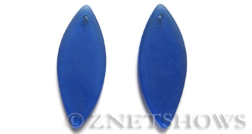 Cultured Sea Glass marquise spindle Pendants  <b>48x19mm</b> 33-Royal Blue    per  <b>piece</b>