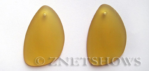Cultured Sea Glass eclipse Pendants  <b>36x24mm</b> 16-Desert Gold teardrop nugget   per  <b>piece</b>