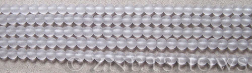 Cultured Sea Glass round Beads  <b>4mm</b> 39-Periwinkle Changes (48 pcs in 8-in-strand)   per  <b>5-strand-hank</b>