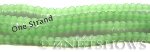 Cultured Sea Glass round Beads  <b>4mm</b> 44-Opaque Spring Green    per  <b>48 pcs in 8-in-str</b>