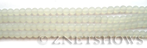 Cultured Sea Glass round Beads  <b>4mm</b> 86-Moonstone Opal (48 pcs in 8-in-str)   per  <b>5-strand-hank</b>