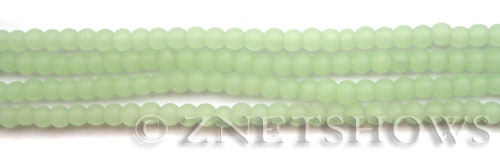 Cultured Sea Glass round Beads  <b>4mm</b> 43-Opaque Seafoam Green (48 pcs in 8-in-str)   per  <b>5-strand-hank</b>