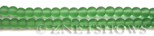 Cultured Sea Glass round Beads  <b>6mm</b> 23-Peridot (32 pcs in 8-in-str)   per  <b>5-strand-hank</b>
