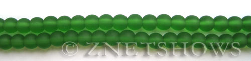 Cultured Sea Glass round Beads  <b>6mm</b> 25-Shamrock (32 pcs in 8-in-str)   per  <b>5-strand-hank</b>