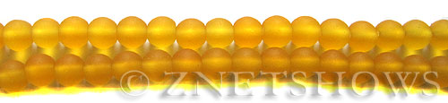 Cultured Sea Glass round Beads  <b>6mm</b> 57-Saffron Yellow (32 pcs in 8-in-str)   per  <b>5-strand-hank</b>
