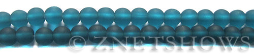 Cultured Sea Glass round Beads  <b>6mm</b> 82-Teal (32 pcs in 8-in-str)   per  <b>5-strand-hank</b>