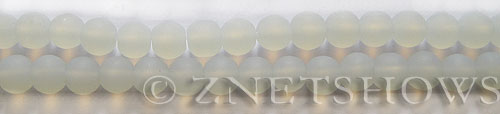Cultured Sea Glass round Beads  <b>6mm</b> 86-Moonstone Opal (32 pcs in 8-in-str)   per  <b>5-strand-hank</b>