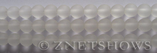 Cultured Sea Glass round Beads  <b>8mm</b> 01-Crystal    per  24 pcs in 8-in-str <b>5-str-hank</b>