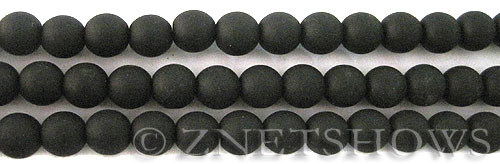 Cultured Sea Glass round Beads  <b>8mm</b> 02-Jet Black    per  24 pcs in 8-in-str <b>5-str-hank</b>