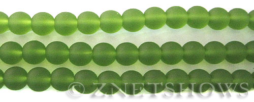 Cultured Sea Glass round Beads  <b>8mm</b> 22-Olive    per  24 pcs in 8-in-str <b>5-str-hank</b>