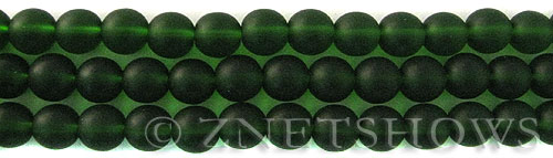 Cultured Sea Glass round Beads  <b>8mm</b> 25-Shamrock    per  24 pcs in 8-in-str <b>5-str-hank</b>